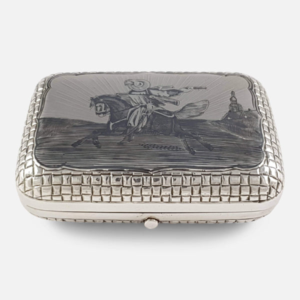 Russian Silver & Niello Cigarette Box Moscow 1879 - Argentum Antiques & Collectables