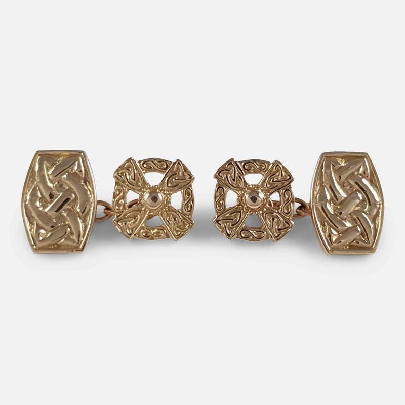 Scottish 'IONA' Celtic 9ct Gold Cufflinks John Hart - Argentum Antiques & Collectables