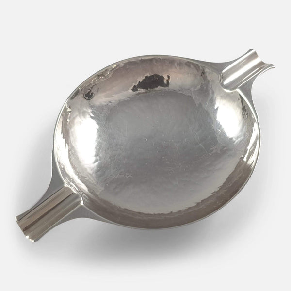 The Scottish sterling silver ashtray viewed from above diagonally