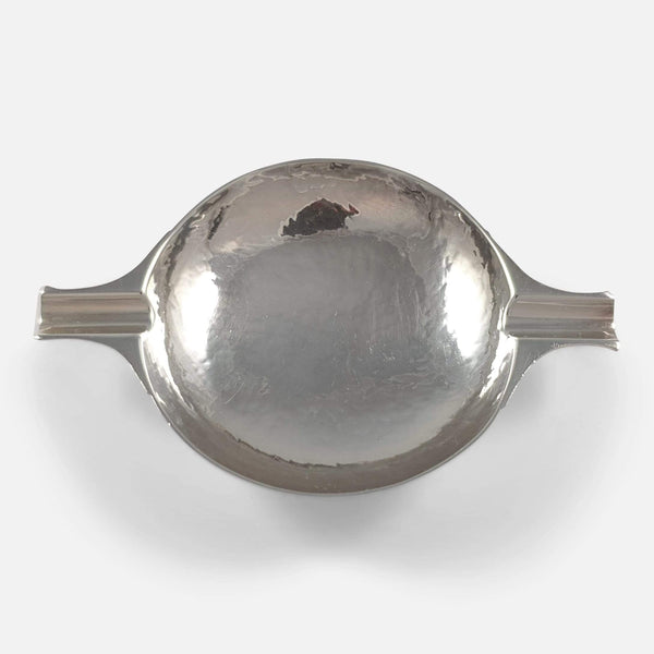 a birds eye view of the silver ashtray