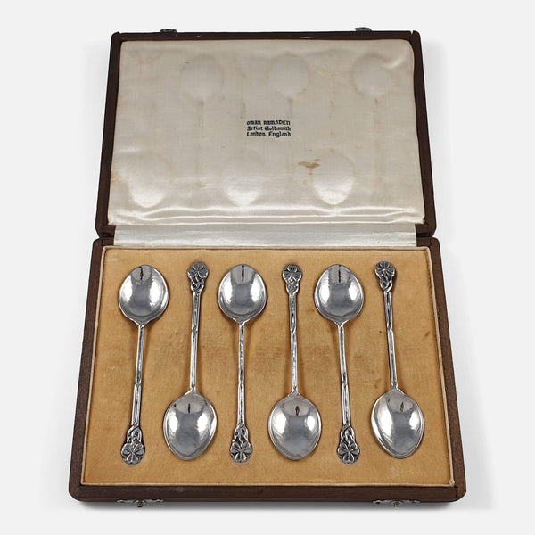 Set of 6 Arts and Crafts Style Silver Teaspoons, Omar Ramsden, viewed in the case