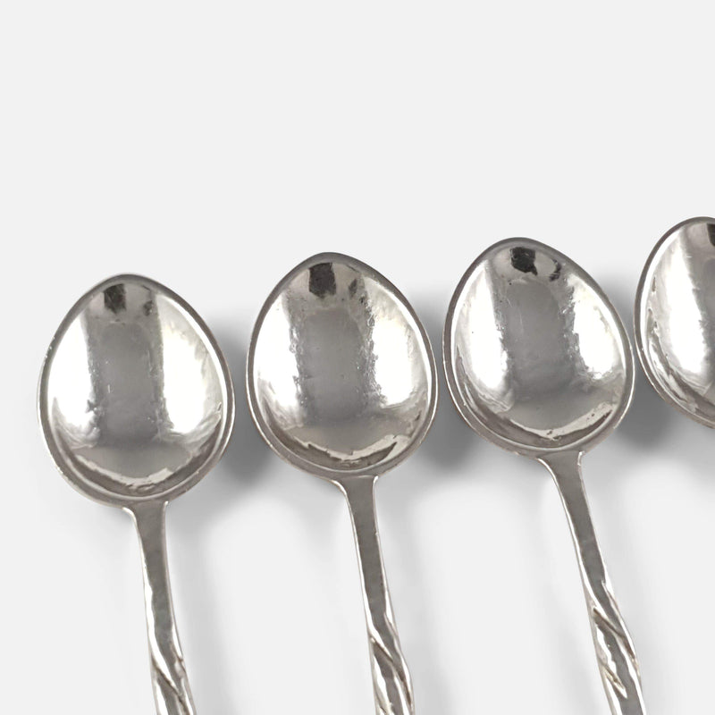 Set of 6 Arts & Crafts Silver Coffee Spoons Omar Ramsden - Argentum Antiques & Collectables