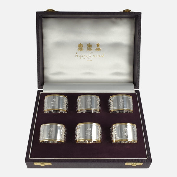 Set of Six Parcel-Gilt Britannia Standard Silver Napkin Rings, 2002
