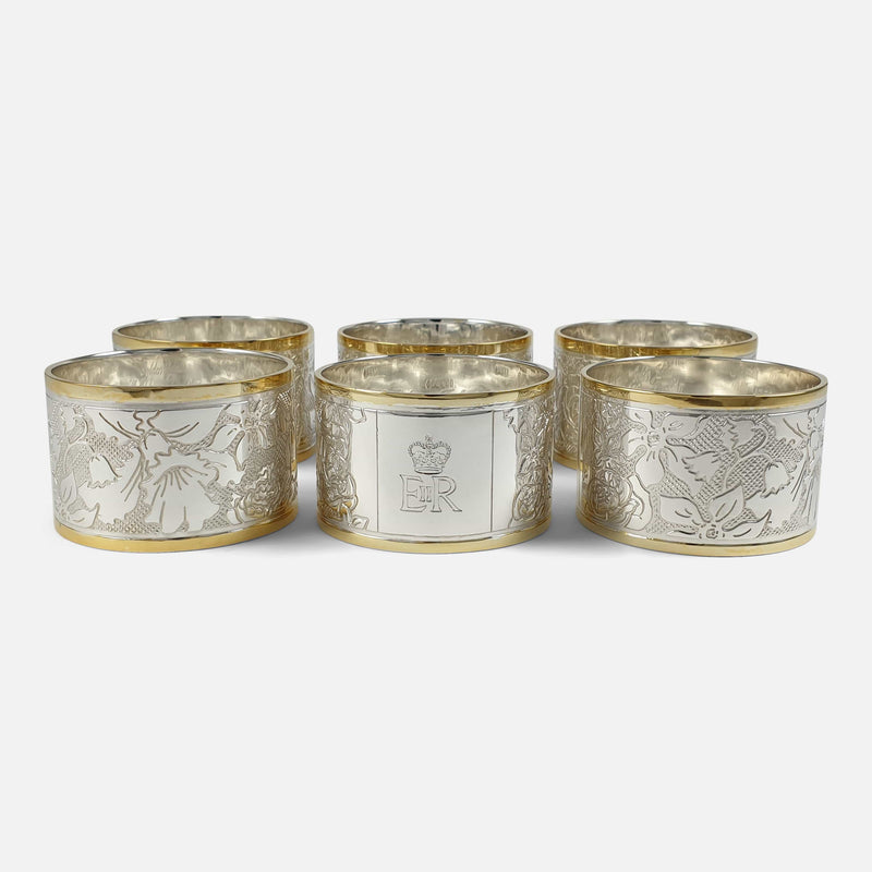Set of Six Parcel-Gilt Britannia Standard Silver Napkin Rings, 2002 viewed from the back