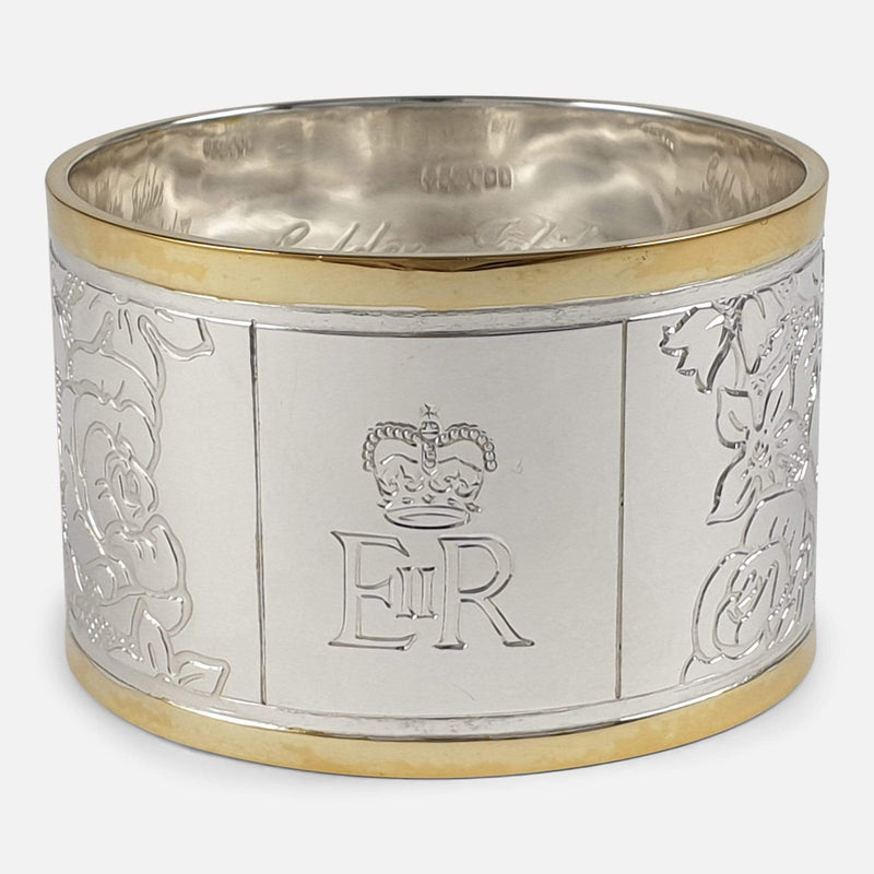 Set of Six Parcel-Gilt Britannia Standard Silver Napkin Rings, 2002 focused on a section