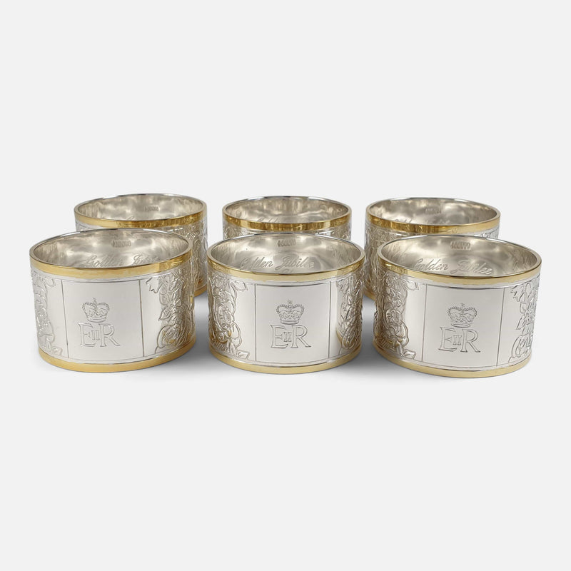 Set of Six Parcel-Gilt Britannia Standard Silver Napkin Rings, 2002 viewed from the front