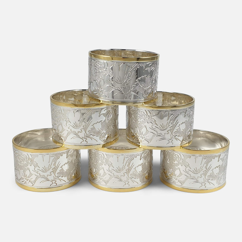 Set of Six Parcel-Gilt Britannia Standard Silver Napkin Rings, 2002 stacked