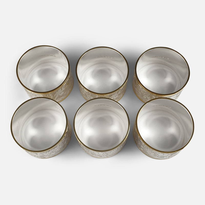 Set of Six Parcel-Gilt Britannia Standard Silver Napkin Rings, 2002 viewed from above
