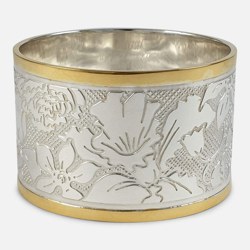 Set of Six Parcel-Gilt Britannia Standard Silver Napkin Rings, 2002 focused on the back