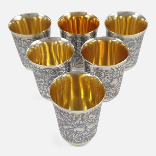 Set of Six Russian Silver Gilt & Niello Beaker Cups - Argentum Antiques & Collectables