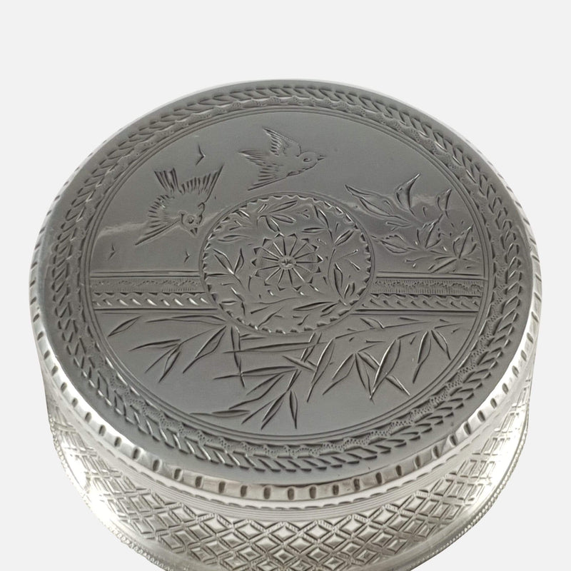 Silver Japonesque Aesthetic Movement Tea Caddy Box, Whiting - Argentum Antiques & Collectables