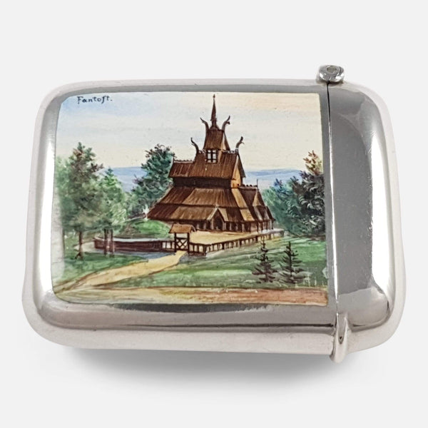 Silver and Enamel 'Fantoft Stave Church' Vesta Case Marius Hammer - Argentum Antiques & Collectables