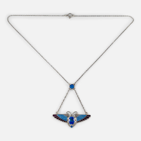 Silver and Enamel Winged Scarab Pendant Necklace, Charles Horner, 1910