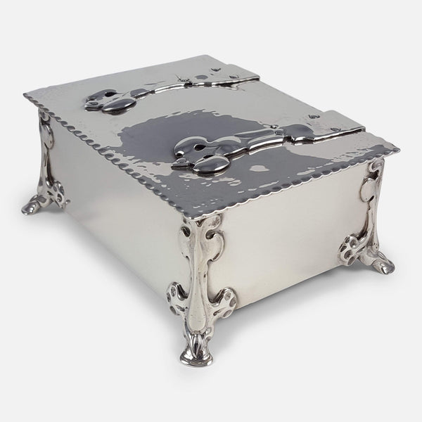 Silver Arts and Crafts Casket Box William Hutton and Sons 1902 viewed from above angled