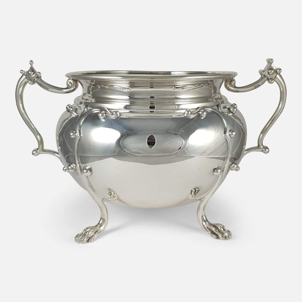 the antique silver jardiniere bowl viewed from the front