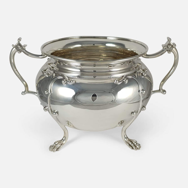 the silver twin handled bowl viewed from a slightly raised position