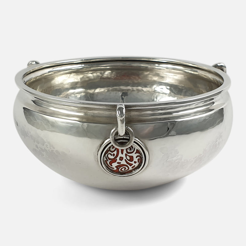 the Arts and Crafts silver and enamel revivalist movement bowl with enamel plaque in focus