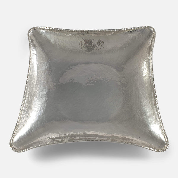 Sterling Silver Hammered Bowl, Edinburgh, 1943 viewed from above