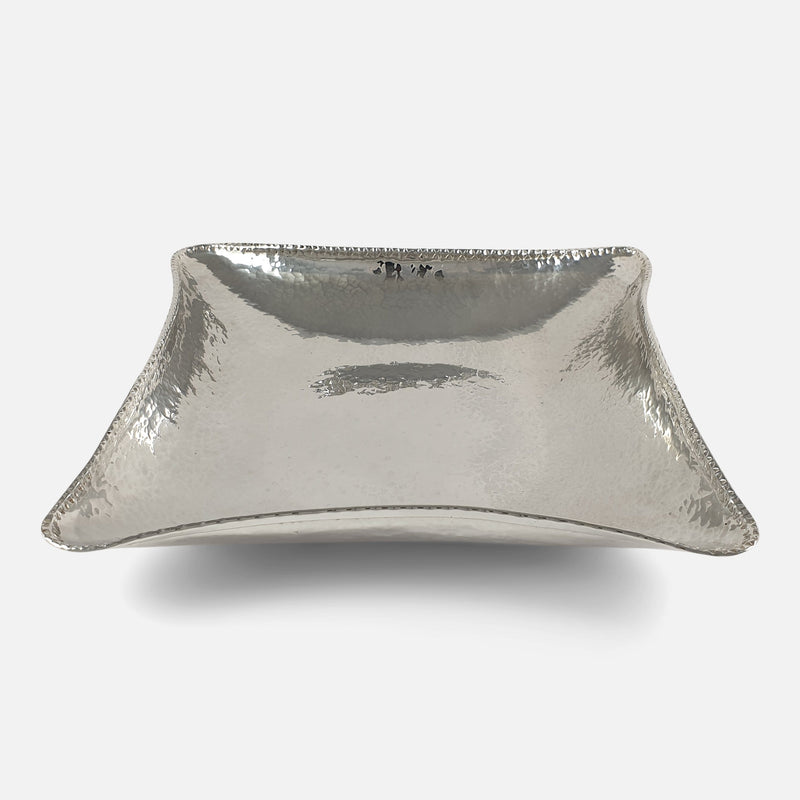 the sterling silver bowl from a raised viewpoint
