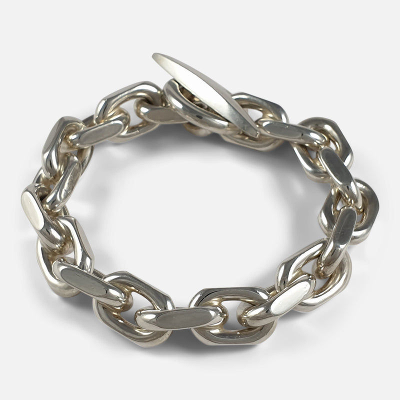 Sterling Silver Marine Anchor Link Bracelet, Bjarne Nordmark Henriksen viewed from above