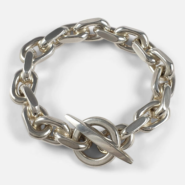 the silver marine link bracelet viewed from above and fastened