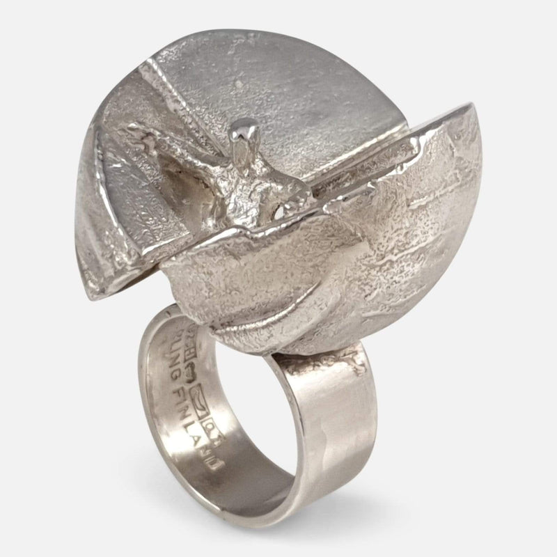 the Lapponia silver ring viewed from a raised position