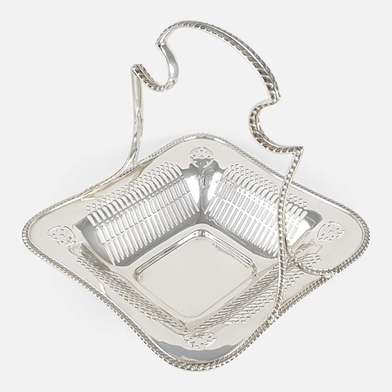 Sterling Silver Pierced Handled Basket Goldsmiths & Silversmiths 1911 - Argentum Antiques & Collectables