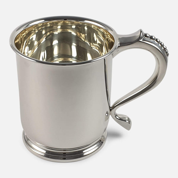 Sterling Silver Pint Tankard, Mappin & Webb Ltd, 1937, 311.6g viewed from the right
