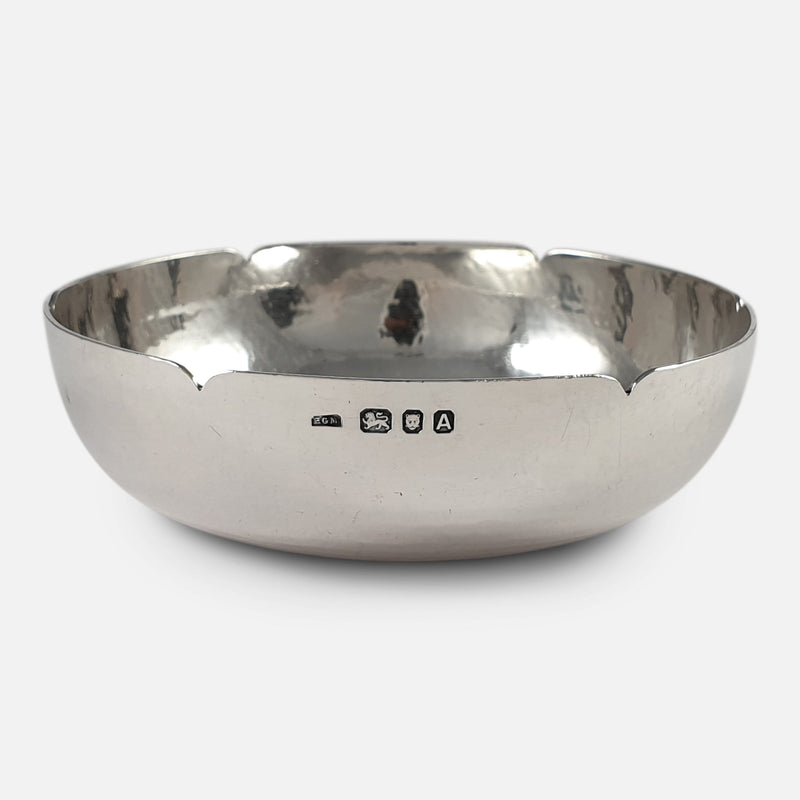 Sterling Silver Bowl, H. G. Murphy, London, 1936 view of the hallmarks or makers marks