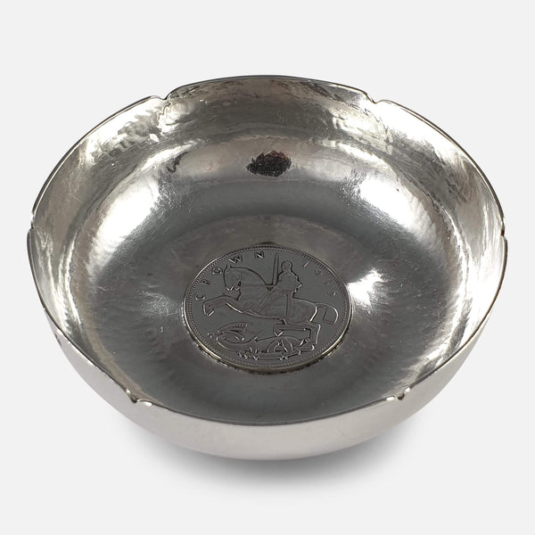 Sterling Silver Bowl viewed from above