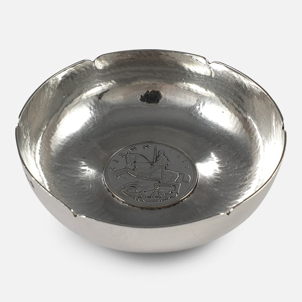 the hammered silver bowl from a raised point of view
