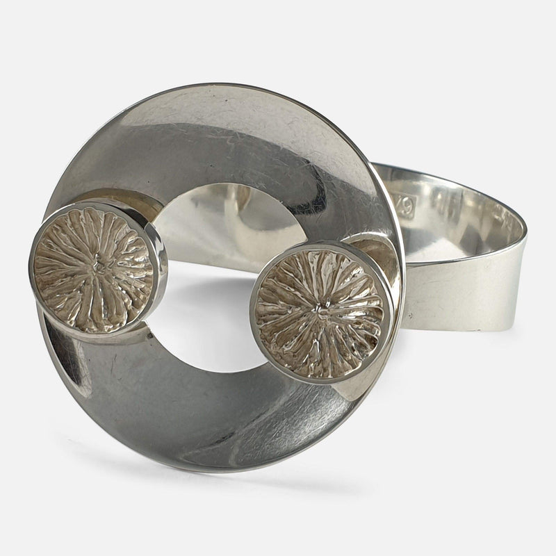 Swedish Silver Bangle Designed by Lindström for Bengt Hallberg 1971 viewed from right at angle