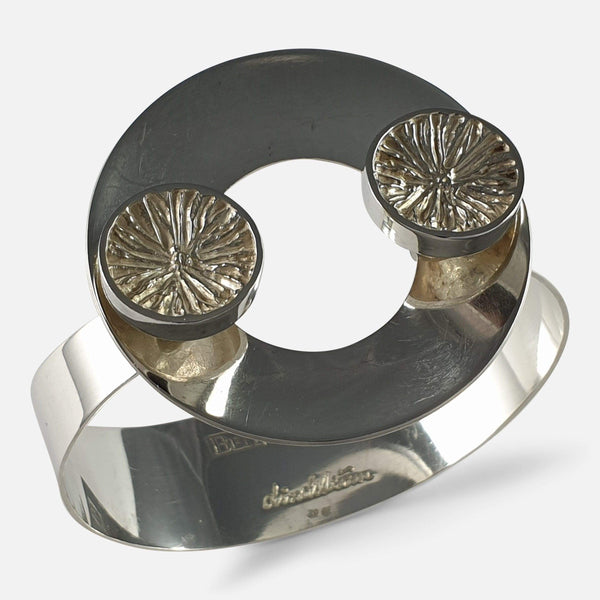 Swedish Silver Bangle Designed by Lindström for Bengt Hallberg 1971 viewed from above