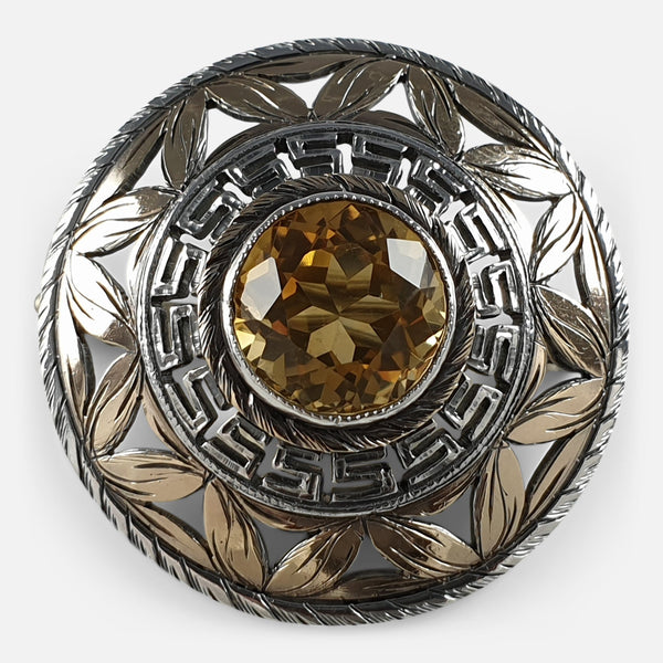 the vintage silver citrine brooch viewed from the front