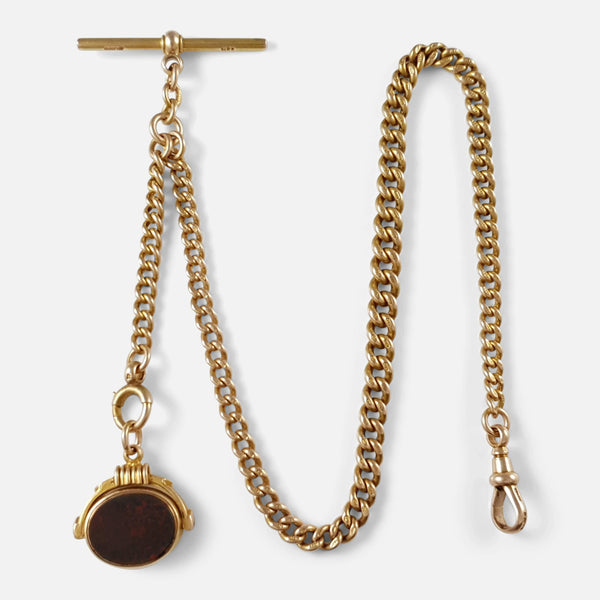 15ct Gold Albert Watch Chain with Bloodstone & Carnelian Fob - Argentum Antiques & Collectables