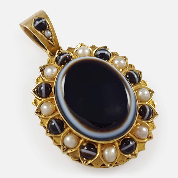 Victorian 15ct Gold Banded Agate and Seed Pearl Mourning Locket - Argentum Antiques & Collectables
