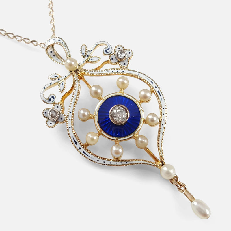 Victorian 15ct Gold, Enamelled, Pearl, and Diamond Pendant viewed from above angled