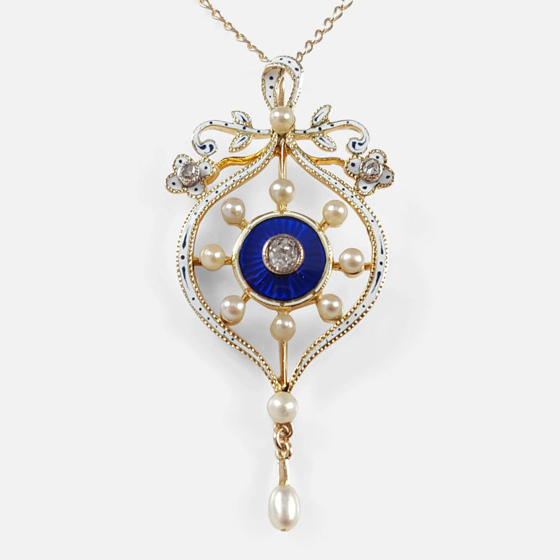 Victorian 15ct Gold, Enamelled, Pearl, and Diamond Pendant viewed from the front