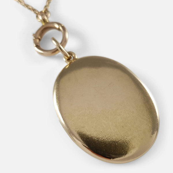 Victorian 15ct Gold Engraved Locket Pendant With 9ct Chain - Argentum Antiques & Collectables