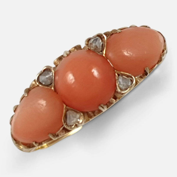 Victorian 15ct Yellow Gold Coral & Diamond Ring - Argentum Antiques & Collectables