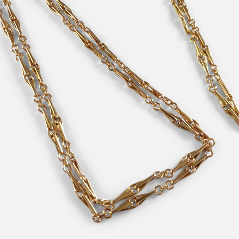 Victorian 15ct Gold Fancy Link Long Guard Muff Chain 36.9 grams - Argentum Antiques & Collectables