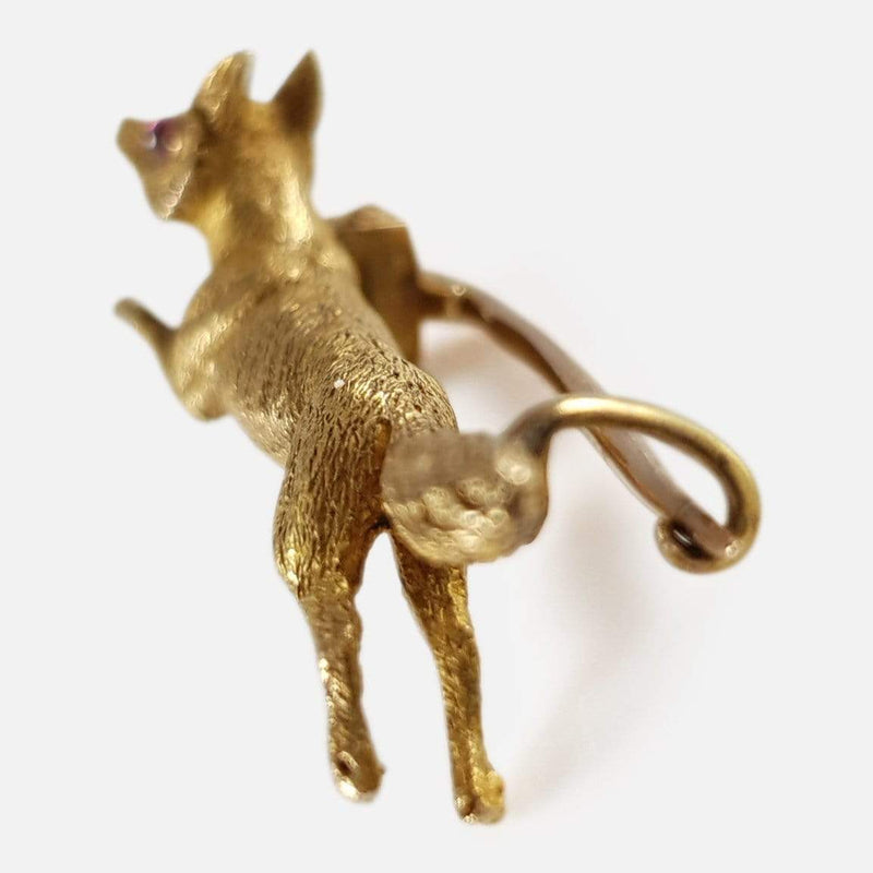 15ct Yellow Gold Fox Hunting Brooch - Argentum Antiques & Collectables
