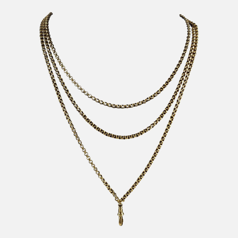 Victorian 15ct Yellow Gold Long Guard Muff Chain Necklace - Argentum Antiques & Collectables