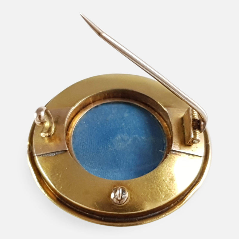 Victorian 18ct Gold 0.60ct Diamond & Enamel Target Brooch - Argentum Antiques & Collectables