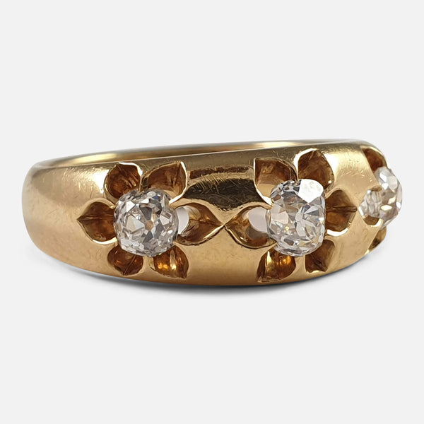 Victorian 18ct Yellow Gold 0.76ct 3 Stone Diamond Gypsy Ring, 1884 - Argentum Antiques & Collectables