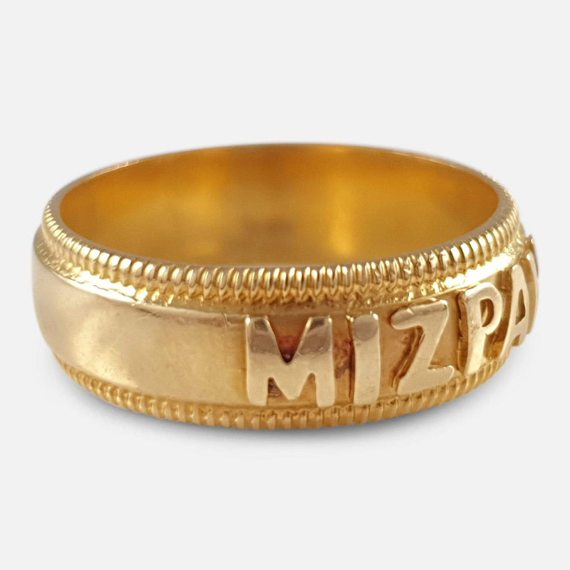 Victorian 18ct Yellow Gold Mizpah Band Ring 1894 - Argentum Antiques & Collectables