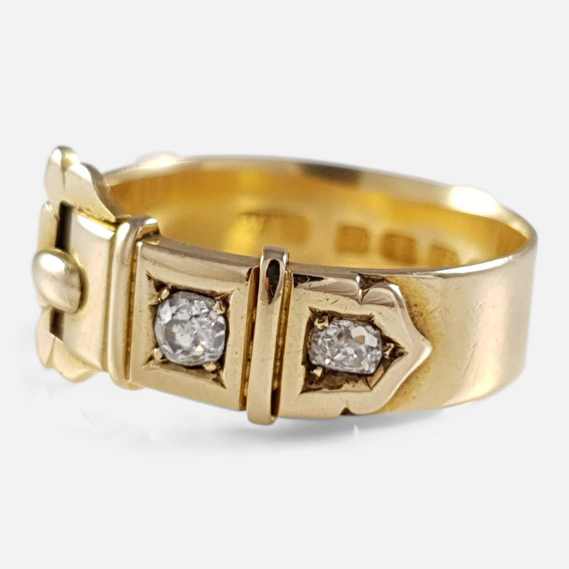 Victorian 18ct Gold and Diamond Buckle Ring 1880 - Argentum Antiques & Collectables