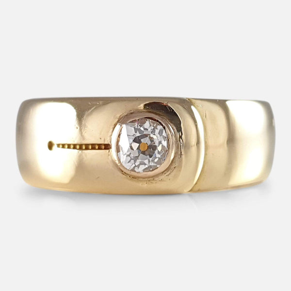 Victorian 18ct Gold and Diamond Buckle Ring 1884 - Argentum Antiques & Collectables