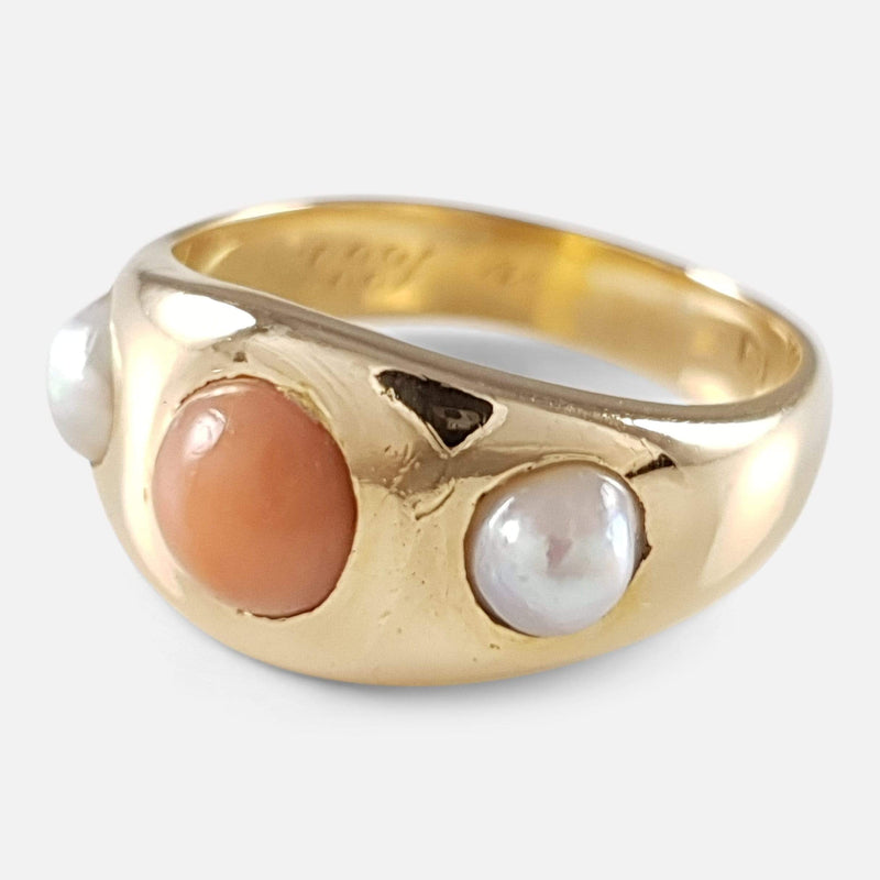 Victorian 18ct Yellow Gold Coral a Pearl Ring Circa 1888 - Argentum Antiques & Collectables