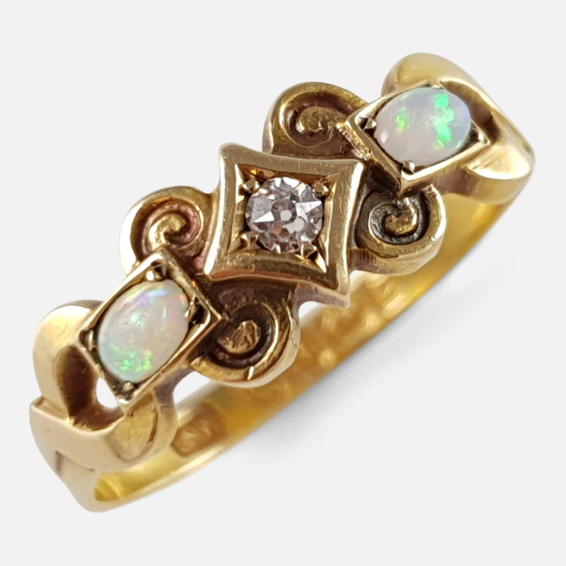 Victorian 18ct Yellow Gold Diamond & Opal 3 Stone Ring 1899 - Argentum Antiques & Collectables